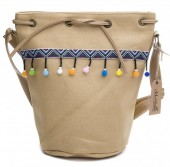 Z-D1.4 BAG013-001 Canvas Bag with Pompons 30x26x18cm Brown