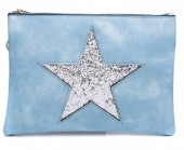 T-I7.1 PU BAG012-008 Bag with Glitter Star 29x20cm Blue