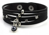 A-E3.9 Leather Bracelet with Crystals and Pearl 17-19cm
