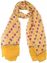 X-C9.2 SCARF507-003E Scarf with Hearts 180x90cm Yellow