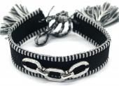 A-C6.2 B2040-005SB Woven Bracelet with S. Steel Chain  Black-Silver