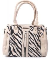 Y-B4.3 BAG418-001 PU Bag with Zebra Print Hide 30x22x11cm Beige