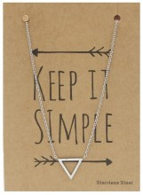 N1759-004 Stainless Steel Necklace Thick Triangle Silver