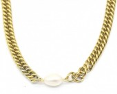 C-A1.2 N220-053G S. Steel Necklace with Freshwater Pearl Gold