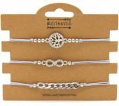 F-E17.1 B316-045 Bracelet Set 3pcs Tree of Life - Infinity - Chain Grey