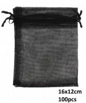 T-P3.1 Organza Gift Bag 16x12cm Black 100pcs