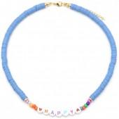 C-B3.3  N2030-001B3 Beaded Necklace HAPPY Blue