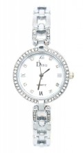 A-F6.5 W523-004 Quartz Watch Metal with Crystals Silver