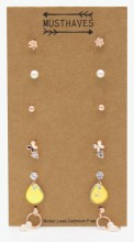 F-D20.2 E426-023 Earring Set 6 Pairs Rose Gold