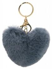 X-K1.2 KY414-003F Fluffy Bag-Keychain 10cm Heart Grey