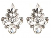 C-A15.3 E019-009 Crystal Earrings White 2x3cm