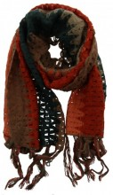 T-D4.2 Knitted Scarf with Fringes Color Blocking Multi Color 50x180cm