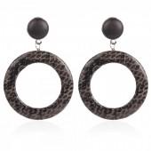 A-A17.4 Earrings Snakeskin 7.4x5cm Black