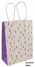 Q-F6.1 PK525-008D Paper Giftbag 21x15cm Purple 12pcs