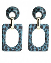 A-C7.2  Square Acrylic Earrings with Leopard Print 6.4x3cm Blue