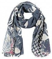 R-I2.1  S106-002 Square Scarf with Flamingos and Glitters 140x140cm Blue