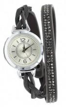 E-B19.5 W1202-001 PU Wrap Watch with Crystals Grey