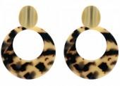 D-A2.2 E515-001 Stagement Earrings Circle 6x5cm Gold-Leopard