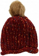 T-N6.3 Spotted Beanie with Fake Fur Pompon Red