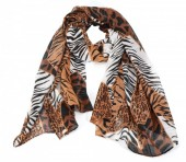 T-I3.1 S208-006 Scarf with Mixed Animal Prints 180x90cm Brown-White