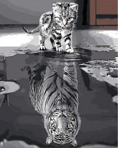 Z-A1.1 MS7323 Paint By Number Set Tiger-Cat 50x40cm