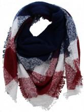Q-M6.1 Wool - Viscose Scarf Blue-Red-White 140x140cm