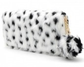 Q-G7.1 WA117-005 Soft Fake Fur Wallet with Pompon 19x10cm Leopard Print White