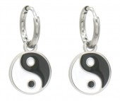 B-F1.1 E221-200S S. Steel Earrings Yin-Yang 1x2cm Silver