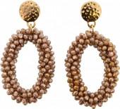 E-D16.2 Facet Glass Beads Earrings E007-001 Gold-Brown 6x3cm