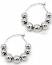 B-A19.5 E1850-008 Stainless Steel Earrings with Balls 2.5cm Silver