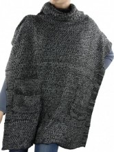 S-G8.1 Knitted Poncho with Pockets Dark Grey