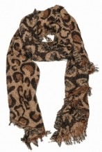 S004-002 Soft Scarf with Leopard Print 63x180cm Light Brown