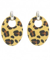E220-005 Trendy Leopard Earrings Oval Ocher Yellow
