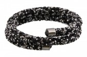 F-D1.1   Double Crystal Bangle B001ST-002 Silver Black