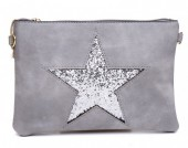 L-D7.2  BAG012-007 Cross Body Bag with Star and Glitters 23x16cm Grey
