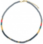 E-D19.5 N1941-001B Surf Necklace with Semi Precious Stones Black-Grey-Multi