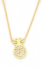 C-C5.3  N016-013 Stainless Steel Necklace Pineapple with Crystals Gold