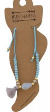 F-D18.1  ANK221-018 Anklet Beads with Mixed Colored Tassels BlueF-D18.1  ANK221-018 Anklet Beads with Mixed Colored Tassels Blue