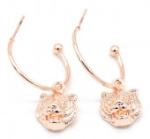 B-E3.5 E426-010 Earrings 20mm with Tiger 12mm Rose Gold