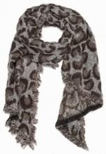 X-F8.1 S004-002A Soft Scarf with Leopard Print 63x180cm Grey-Brown