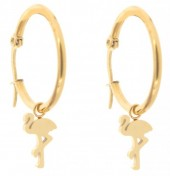 A-A16.5 E015-012SC Stainless Steel Earrings 25mm Flamingo Gold