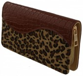 S-D1.3 WA117-003 PU Wallet with Leopard Print 19x10cm Brown