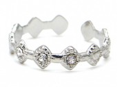 G-F6.2 R110231S S. Steel Ring Crystals Adjustable Silver