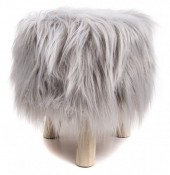 ST002-001 Stool with Fake Fur 31x34cm Grey