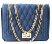 Y-D6.1 BAG122-004 Trendy Velvet Shoulder Bag Blue 24x18x7cm
