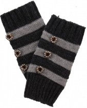 L-C7.2 Striped Hand Warmers with Buttons Grey