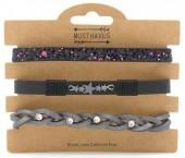 B1202-207 3pcs Pu Bracelet Set with Star and Glitters Grey