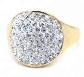 B-C9.2 R532-004G Adjustable Ring with Crystals Gold
