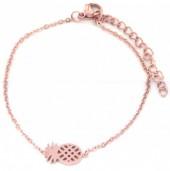 B015-012D Stainless Steel Bracelet on Giftcard Pineapple Rose Gold