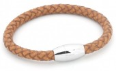 B105-004 Leather Bracelet with Stainless Steel Lock 21cm Light Brown